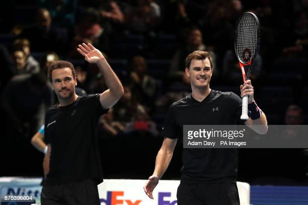Great Britain's Jamie Murray and partner Brazil's Bruno Soares waves to the crowd after winning their doubles match on day six of the NITTO ATP World...