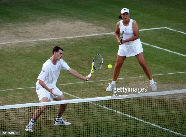Great Britain's Jamie Murray and USA's Liezel Huber in mixed doubles action during the Wimbledon Championships 2008 at the All England Tennis Club in...
