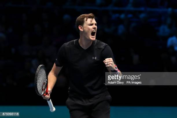 Great Britain's Jamie Murray celebrates during his doubles match with partner Brazil's Bruno Soares on day six of the NITTO ATP World Tour Finals at...
