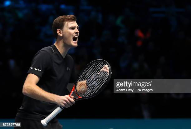 Great Britain's Jamie Murray celebrates winning his doubles match with partner Brazil's Bruno Soares on day six of the NITTO ATP World Tour Finals at...