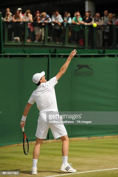 Great Britain's Jamie Murray in action during his doubles match with partner Australia's John Peers against Austria's Jurgen Melzer and USA's James...