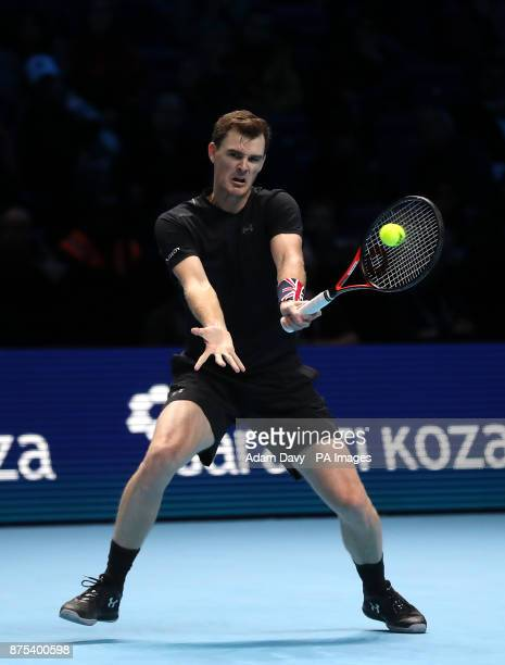 Great Britain's Jamie Murray in action during his doubles match with partner Brazil's Bruno Soares on day six of the NITTO ATP World Tour Finals at...