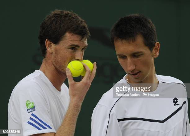 Great Britain's Jamie Murray in his doubles match with Ukraine's Sergiy Stakhovsky against Spain's Marcel Granollers and Tommy Robredo during day...