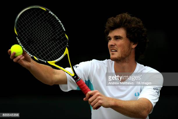 Great Britain's Jamie Murray serves during his doubles match against South Africa's Jeff Coetzee and Australia's Jordan Kerr during the Nottingham...