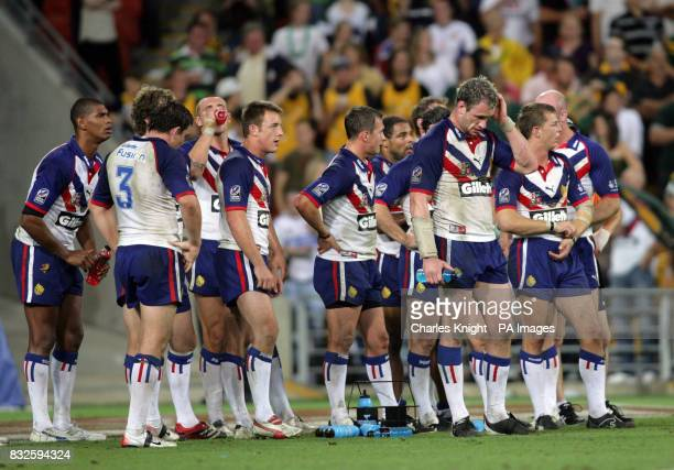 Great Britain's Jamie Peacock and team mates following the Gillette TriNations match at Suncorp Stadium Brisbane Australia