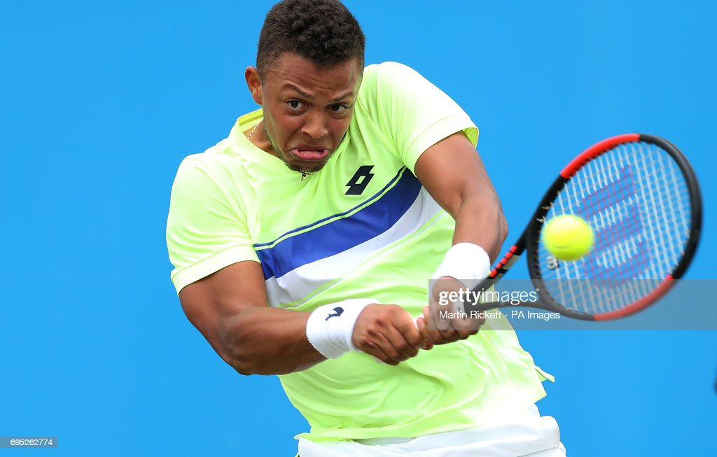 Great Britain's Jay Clarke in action against India's Yuki Bhambri, during day one of the AEGON Open Nottingham at Nottingham Tennis Centre.