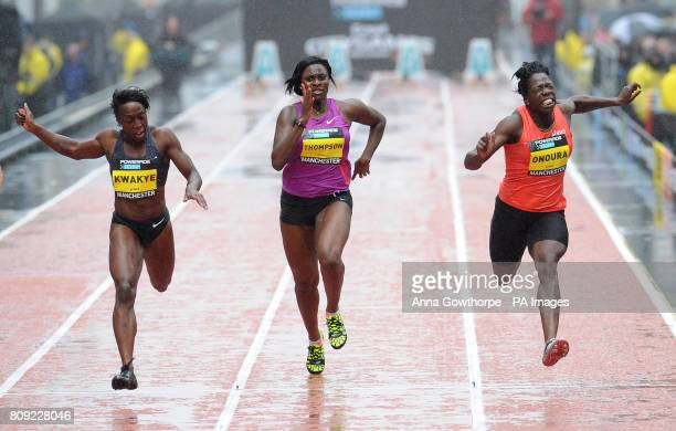 Great Britain's Jeanette Kwakye crosses the line to win the Women's 100m Sprint race during the Great City Games Manchester