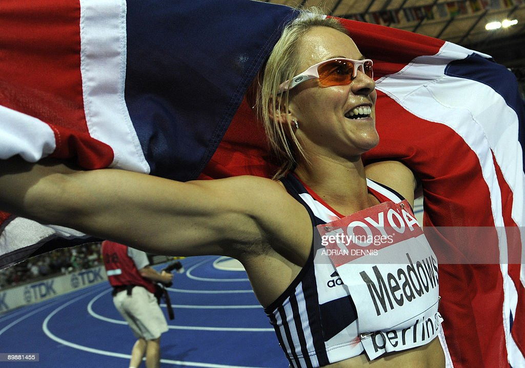 Great Britain's Jennifer Meadows celebrates after the women's 800m final race of the 2009 IAAF Athletics World Championships on August 19, 2009 in Berlin.