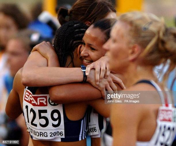 Great Britain's Jessica Ennis hugs her teammates after the Heptathlon during the European Athletics Championships in Gothenburg Sweden