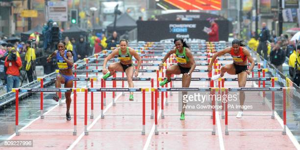 Great Britain's Jessica Ennis on her way to third place behind USA's Danielle Carruthers and USA's Ginnie Crawford in the Women's 100m Hurdle race...