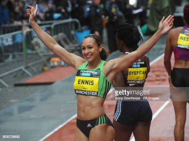 Great Britain's Jessica Ennis waves to the crowd after finishing second during the Great City Games Manchester