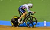 Great Britain's Joanna Rowsell competes to win the gold medal in the UCI Track Cycling World Championships women's individual pursuit final at...