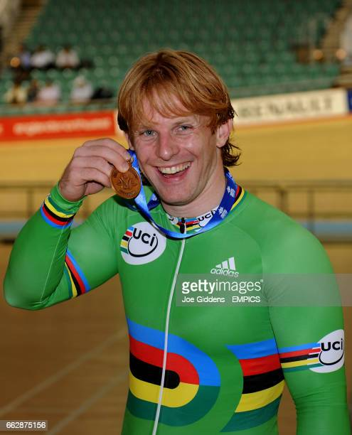 Great Britain's Jody Cundy with his gold medal from the Men's Kilometre Cycling event