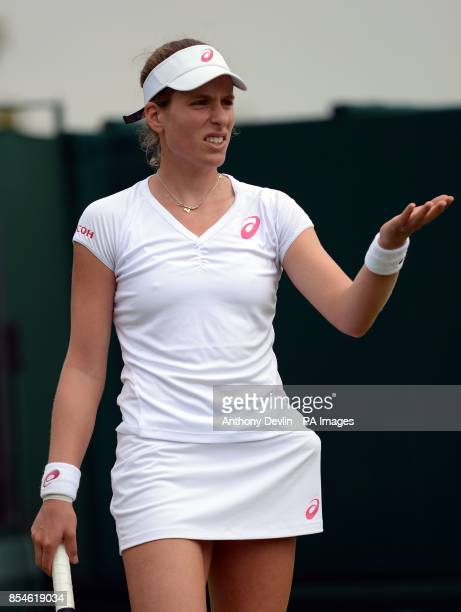 Great Britain's Johanna Konta during her match against China's Shuai Peng during day one of the Wimbledon Championships at the All England Lawn...