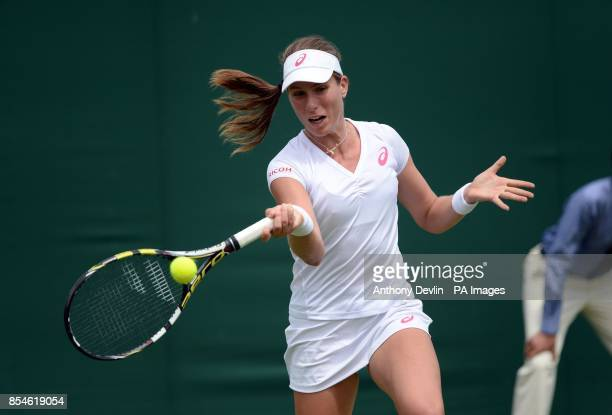 Great Britain's Johanna Konta in action against China's Shuai Peng during day one of the Wimbledon Championships at the All England Lawn Tennis and...