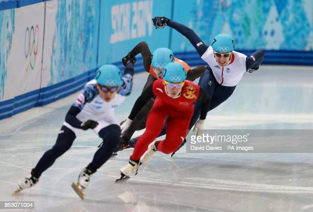 Great Britain's Jon Eley in his Men's 500m Semi Final at the Iceberg Skating Palace during the 2014 Sochi Olympic Games in Sochi Russia