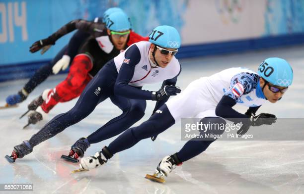 Great Britain's Jon Eley in the quarter final of the mens 500m short track speed skating at the Iceberg Skating Palace during the 2014 Sochi Olympic...