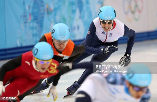 Great Britain's Jon Eley in the semi final of the men's 500m short track speed skating at the Iceberg Skating palace during the 2014 Sochi Olympic...