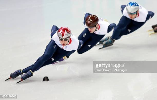 Great Britain's Jon Eley Jack Whelbourne and Richard Shoebridge practice in the Short Track at the Iceberg Skating Palace during the 2014 Sochi...