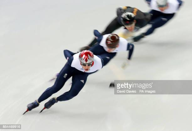 Great Britain's Jon Eley leads his team mates in their Short Track practice session at the iceberg Skating Palace during the 2014 Sochi Olympic Games...