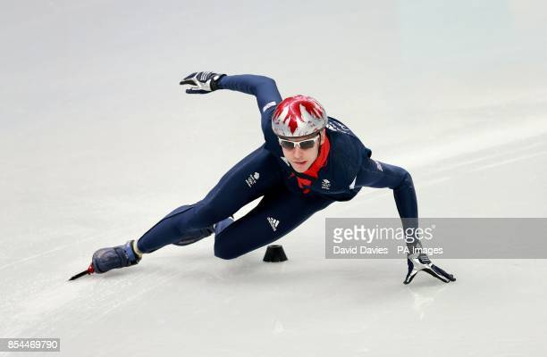 Great Britain's Jon Eley practices in the Short Track at the Iceberg Skating Palace during the 2014 Sochi Olympic Games in Sochi Russia