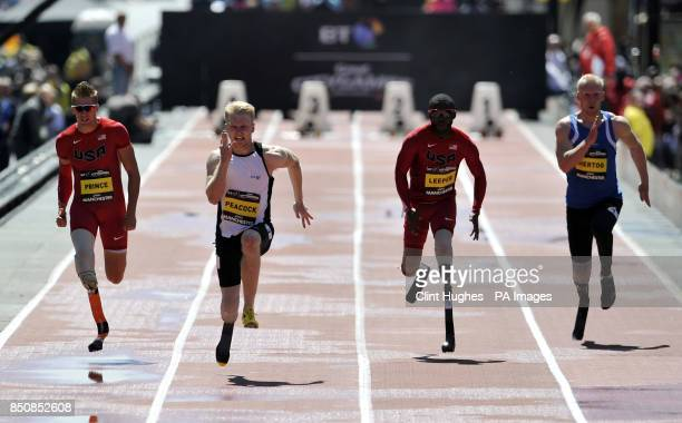 Great Britain's Jonnie Peacock wins the men's IPC 100m T43/44 during the BT Great City Games in Manchester