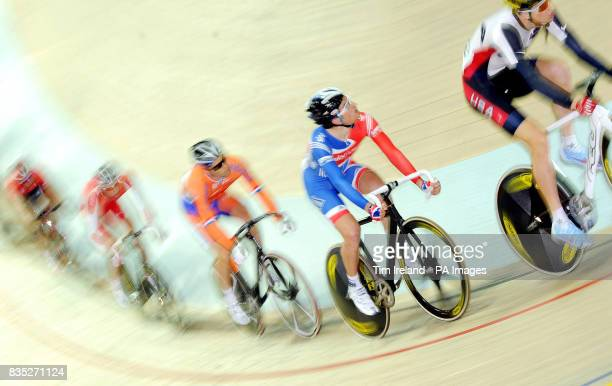 Great Britain's Jonny Bellis trails the USA's Taylor Phinney in the Men's Points Race during the 2009 UCI World Track Cycling Championships at the...