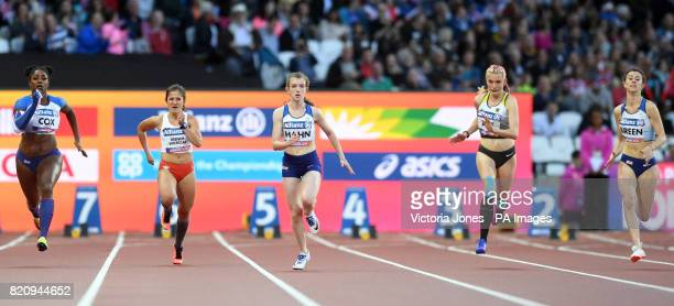 Great Britain's Kadeena Cox Poland's Anna TrenerWierciak Great Britain's Sophie Hahn Germany's Lindy Ave and Great Britain's Olivia Breen in the...