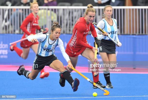 Great Britain's Laura Bartlett battles with Argentina's Rocio Sanchez Moccia during the Gold Medal Hockey match during the Visa International...