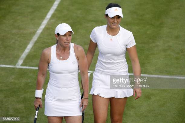Great Britain's Laura Robson and USA's Lisa Raymond in their women's doubles match against Germany's AnnaLena Groenefeld and Czech Republic's Kveta...