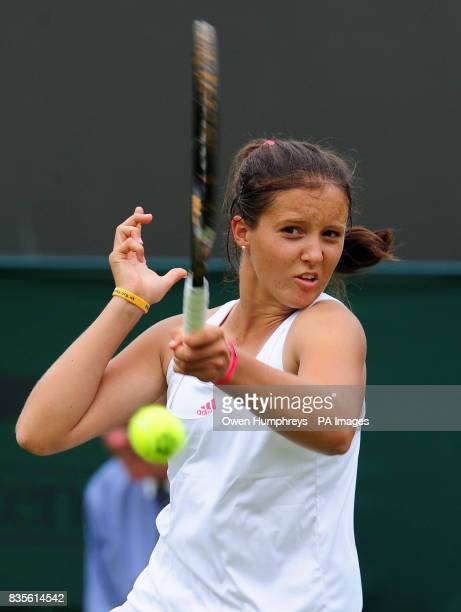 Great Britain's Laura Robson in action against Slovakia's Daniela Hantuchova during the 2009 Wimbledon Championships at the All England Lawn Tennis...