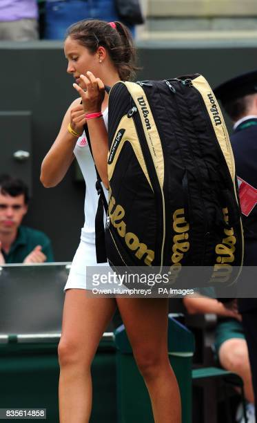 Great Britain's Laura Robson walks off dejected following her loss to Slovakia's Daniela Hantuchova during the 2009 Wimbledon Championships at the...