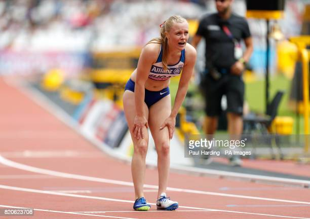 Great Britain's Laura Sugar after finishing second in the Women's 200m T44 Round 1 Heat 1 during day nine of the 2017 World Para Athletics...