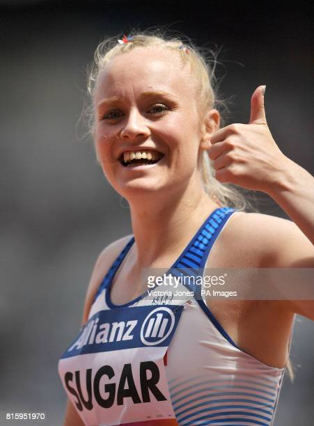 Great Britain's Laura Sugar celebrates after finishing third in the Women's 100m T44 second heat during day four of the 2017 World Para Athletics...