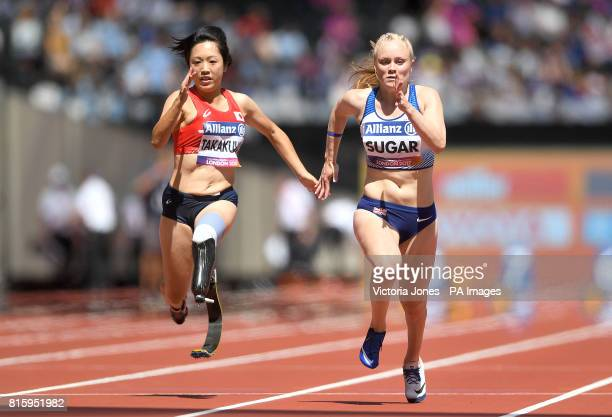 Great Britain's Laura Sugar finishes third in the Women's 100m T44 second heat during day four of the 2017 World Para Athletics Championships at...