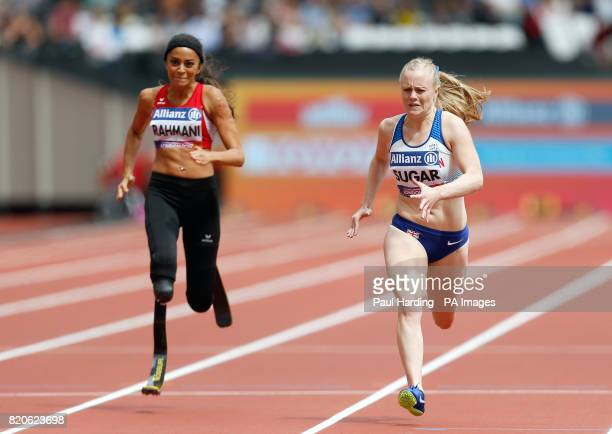 Great Britain's Laura Sugar on her way to finishing second in the Women's 200m T44 Round 1 Heat 1 during day nine of the 2017 World Para Athletics...