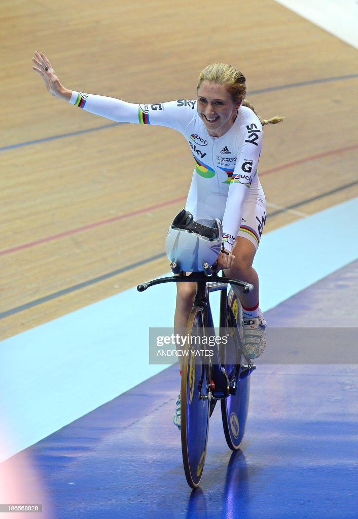 Great Britain's Laura Trott celebrates after her team won the Women's Team Pursuit during day one of the Track Cycling World Cup at The National Cycling Centre in Manchester, north-west England, on November 1, 2013.