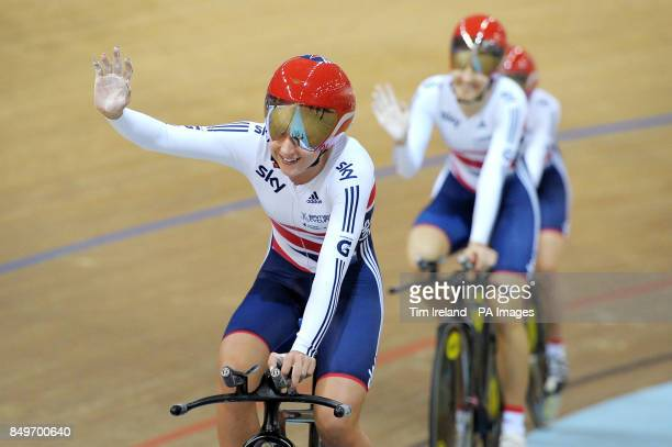Great Britain's Laura Trott celebrates Gold in the team pursuit with Dani King and Elinor Barker on day two of the UCI Track Cycling World...
