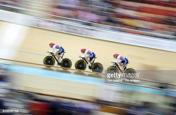 Great Britain's Laura Trott Dani King and Elinor Barker ride to qualify first in the team pursuit on day two of the UCI Track Cycling World...