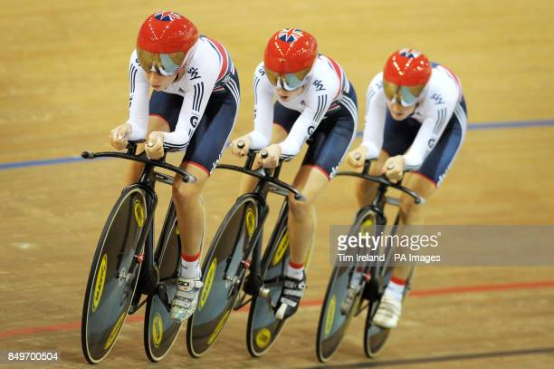 Great Britain's Laura Trott Elinor Barker and Dani King ride to Gold in the team pursuit on day two of the UCI Track Cycling World Championships at...