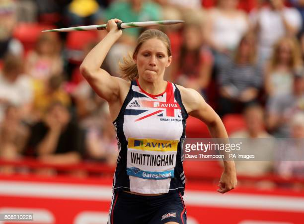 Great Britain's Laura Whittingham competes in the women's javelin during the Aviva British Grand Prix in Gateshead