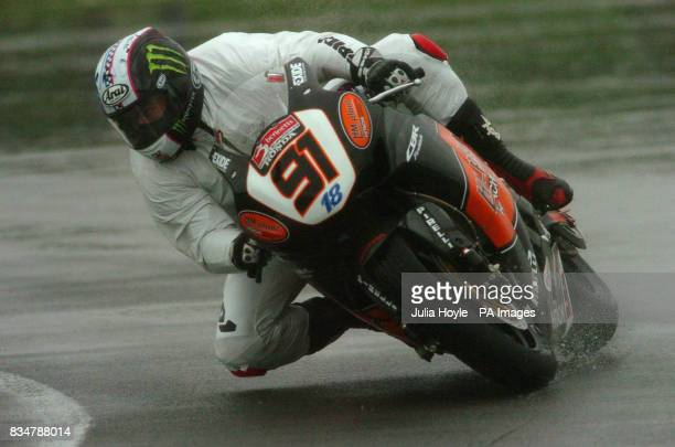 Great Britain's Leon Haslam rides his HM Plant Honda during a practice session at Donington Park Castle Donington Derbyshire