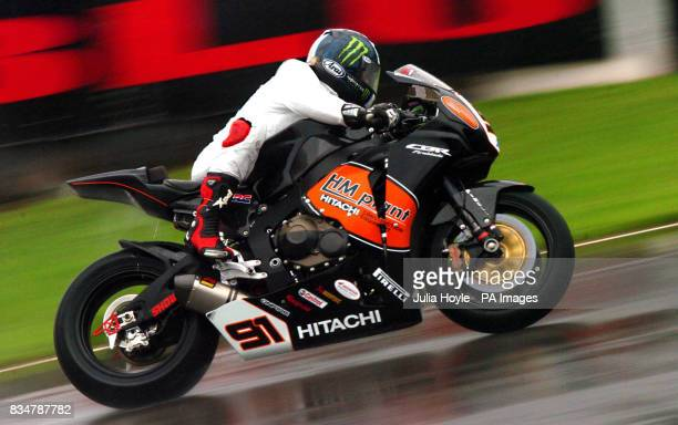 Great Britain's Leon Haslam rides on the HM Plant Honda during the free practice session at Donington Park Castle Donington Derbyshire