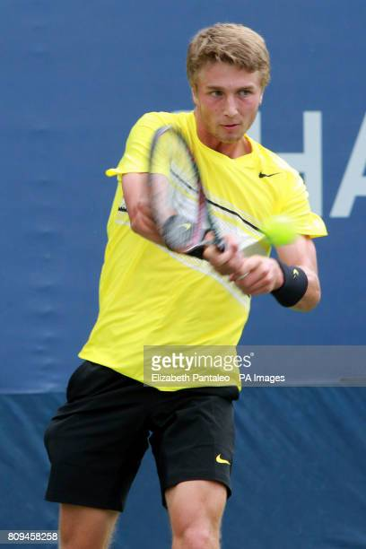 Great Britain's Liam Broady in action against Italy's Stefano Napolitano during day Eight of the US Open at Flushing Meadows New York USA