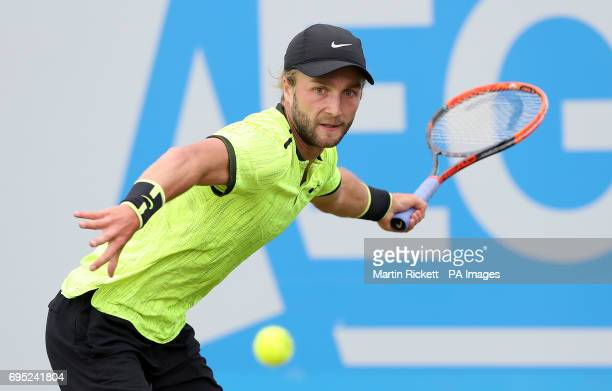 Great Britain's Liam Broady in action against Ukraine's Illya Marchenko during day one of the AEGON Open Nottingham at Nottingham Tennis Centre PRESS...