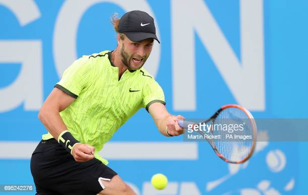 Great Britain's Liam Broady in action against Ukraine's Illya Marchenko during day one of the AEGON Open Nottingham at Nottingham Tennis Centre