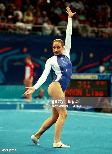 Great Britain's Lisa Mason performs her floor routine