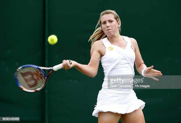 Great Britain's Lucy Brown in action against Australia's Ashleigh Barty in the first round of the Girl's Singles