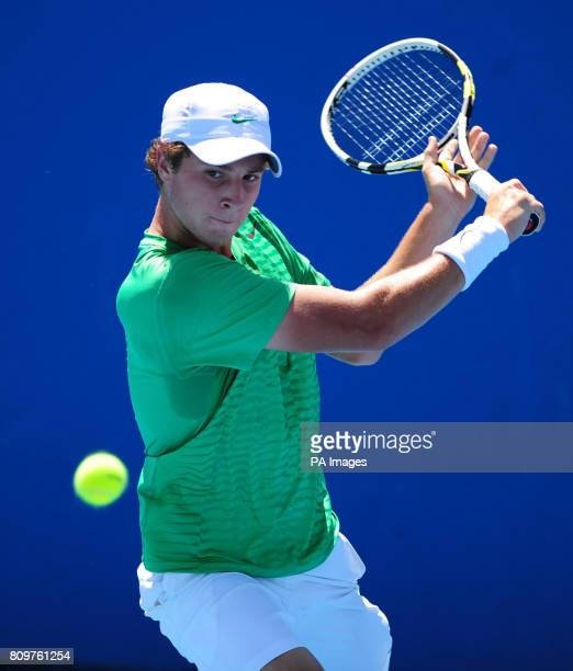 Great Britain's Luke Bambridge in action against Japan's Kaichi Uchida during day nine of the 2012 Australian Open at Melbourne Park in Melbourne...