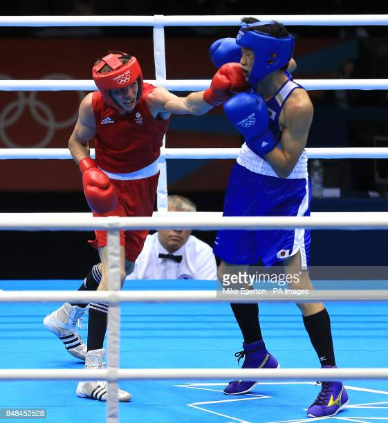 Great Britain's Luke Campbell in action against Japan's Satoshi Shimizu during the Men's Bantam Semi Final at the ExCeL Arena on day fourteen of the...